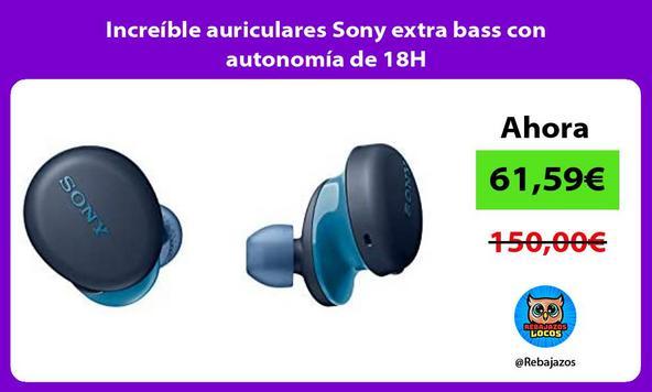 Increíble auriculares Sony extra bass con autonomía de 18H