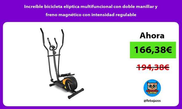 Increíble bicicleta elíptica multifuncional con doble manillar y freno magnético con intensidad regulable