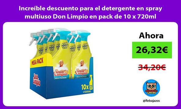 Increíble descuento para el detergente en spray multiuso Don Limpio en pack de 10 x 720ml
