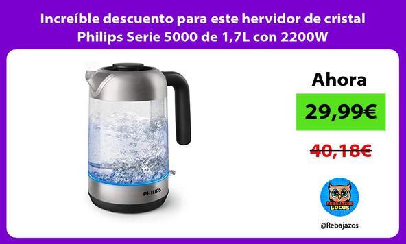 Increíble descuento para este hervidor de cristal Philips Serie 5000 de 1,7L con 2200W