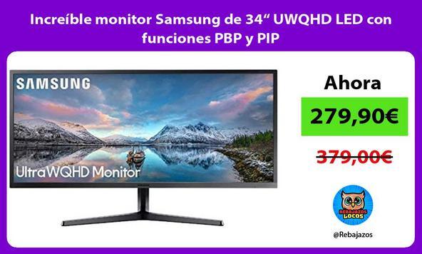 """Increíble monitor Samsung de 34"""" UWQHD LED con funciones PBP y PIP"""