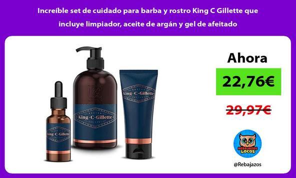 Increíble set de cuidado para barba y rostro King C Gillette que incluye limpiador, aceite de argán y gel de afeitado