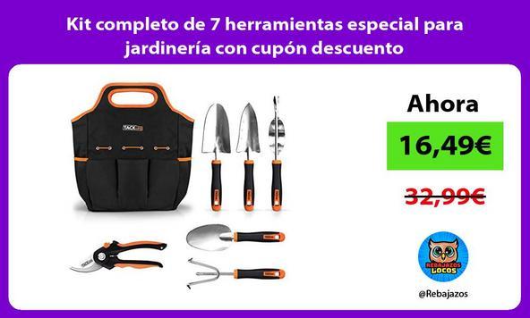 Kit completo de 7 herramientas especial para jardinería con cupón descuento