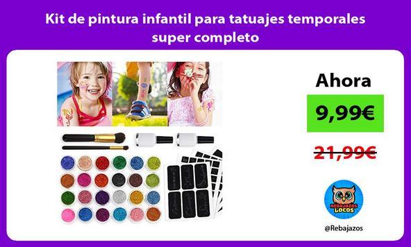 Kit de pintura infantil para tatuajes temporales super completo