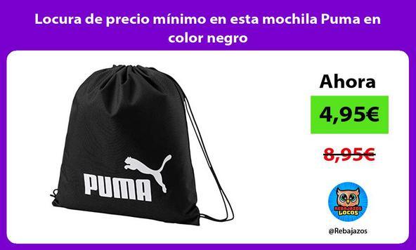 Locura de precio mínimo en esta mochila Puma en color negro