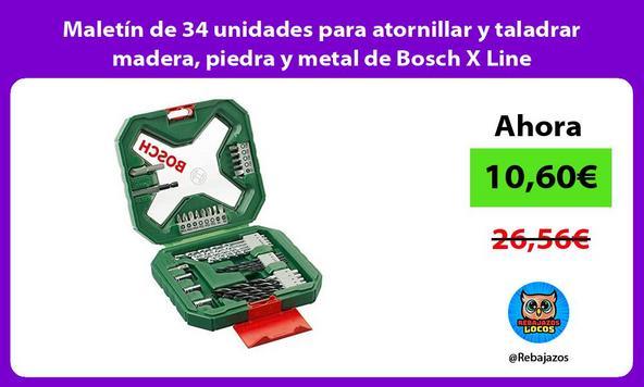 Maletín de 34 unidades para atornillar y taladrar madera, piedra y metal de Bosch X Line