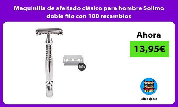 Maquinilla de afeitado clásico para hombre Solimo doble filo con 100 recambios
