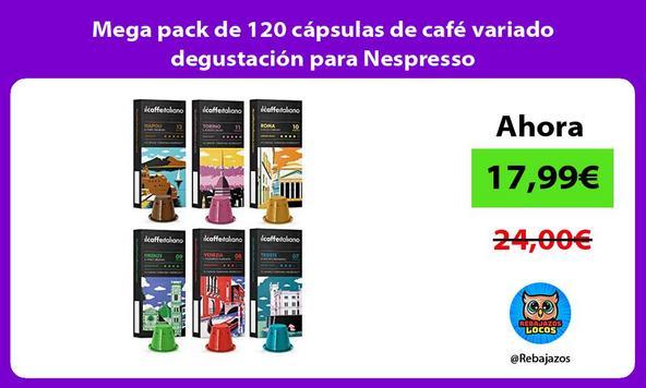 Mega pack de 120 cápsulas de café variado degustación para Nespresso