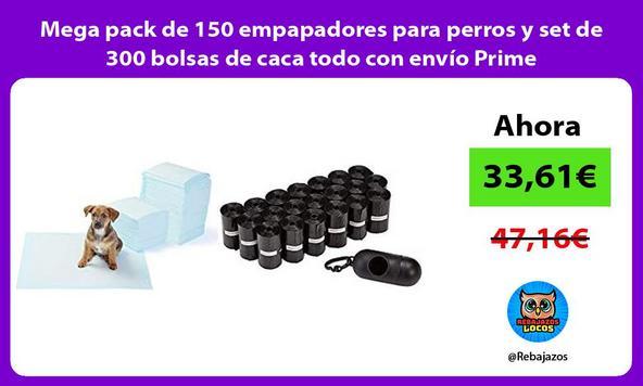 Mega pack de 150 empapadores para perros y set de 300 bolsas de caca todo con envío Prime