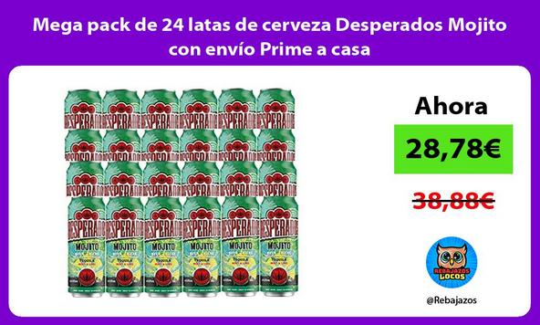 Mega pack de 24 latas de cerveza Desperados Mojito con envío Prime a casa