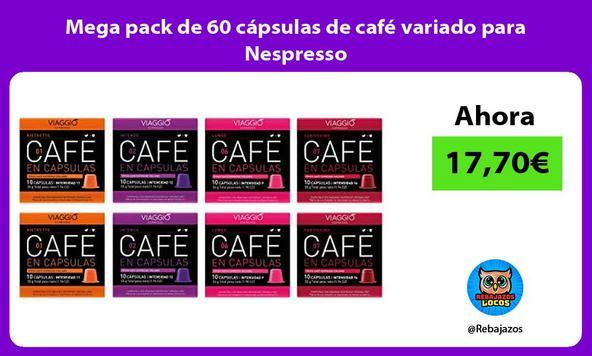 Mega pack de 60 cápsulas de café variado para Nespresso