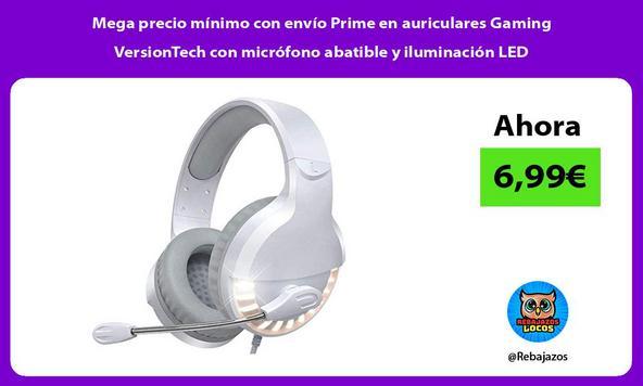 Mega precio mínimo con envío Prime en auriculares Gaming VersionTech con micrófono abatible y iluminación LED