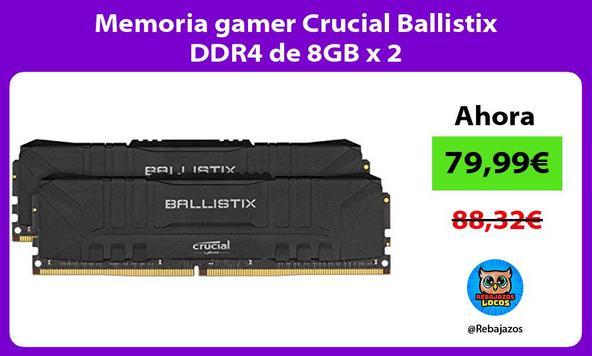 Memoria gamer Crucial Ballistix DDR4 de 8GB x 2