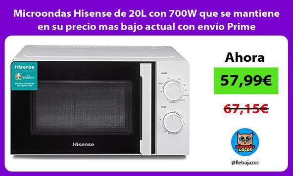 Microondas Hisense de 20L con 700W que se mantiene en su precio mas bajo actual con envío Prime