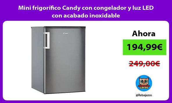 Mini frigorífico Candy con congelador y luz LED con acabado inoxidable