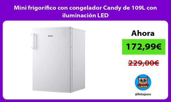 Mini frigorífico con congelador Candy de 109L con iluminación LED