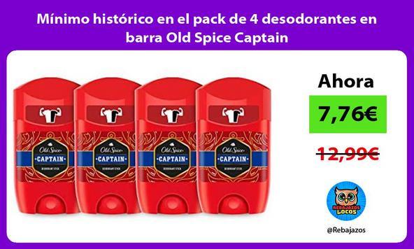 Mínimo histórico en el pack de 4 desodorantes en barra Old Spice Captain