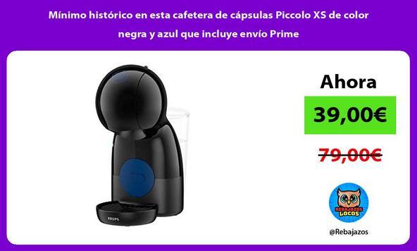 Mínimo histórico en esta cafetera de cápsulas Piccolo XS de color negra y azul que incluye envío Prime