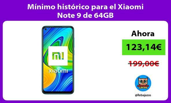 Mínimo histórico para el Xiaomi Note 9 de 64GB