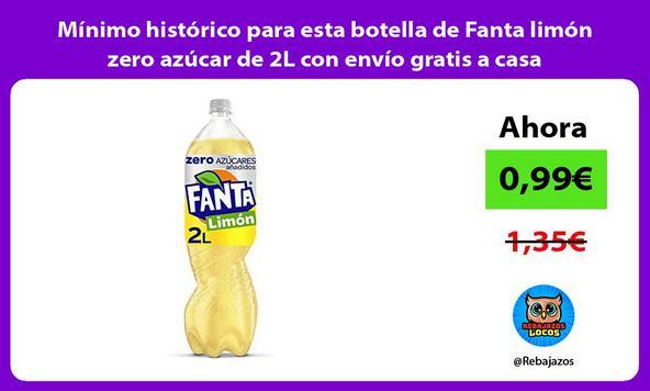 Mínimo histórico para esta botella de Fanta limón zero azúcar de 2L con envío gratis a casa