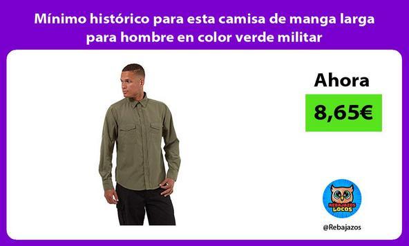 Mínimo histórico para esta camisa de manga larga para hombre en color verde militar
