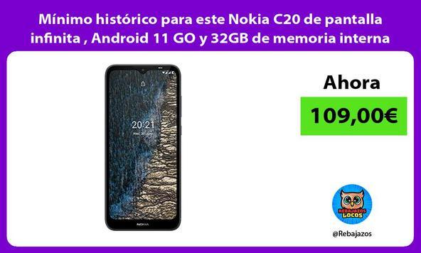 Mínimo histórico para este Nokia C20 de pantalla infinita , Android 11 GO y 32GB de memoria interna