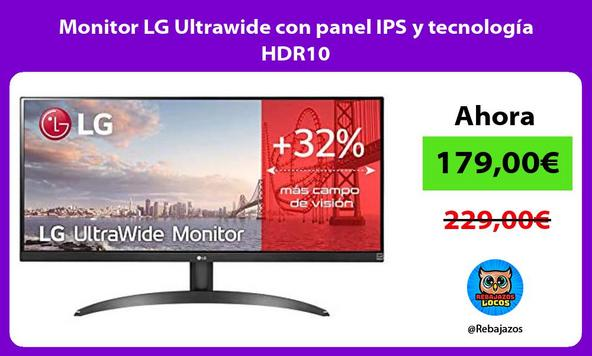 Monitor LG Ultrawide con panel IPS y tecnología HDR10