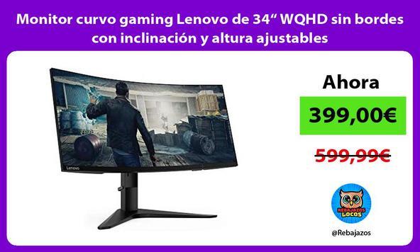 """Monitor curvo gaming Lenovo de 34"""" WQHD sin bordes con inclinación y altura ajustables"""