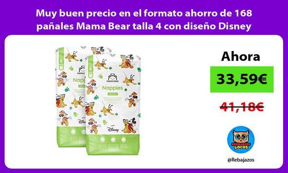 Muy buen precio en el formato ahorro de 168 pañales Mama Bear talla 4 con diseño Disney