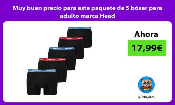 Muy buen precio para este paquete de 5 bóxer para adulto marca Head