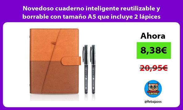 Novedoso cuaderno inteligente reutilizable y borrable con tamaño A5 que incluye 2 lápices