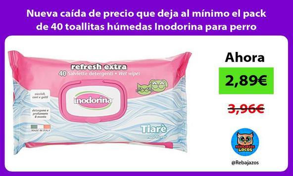 Nueva caída de precio que deja al mínimo el pack de 40 toallitas húmedas Inodorina para perro