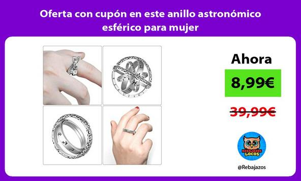 Oferta con cupón en este anillo astronómico esférico para mujer