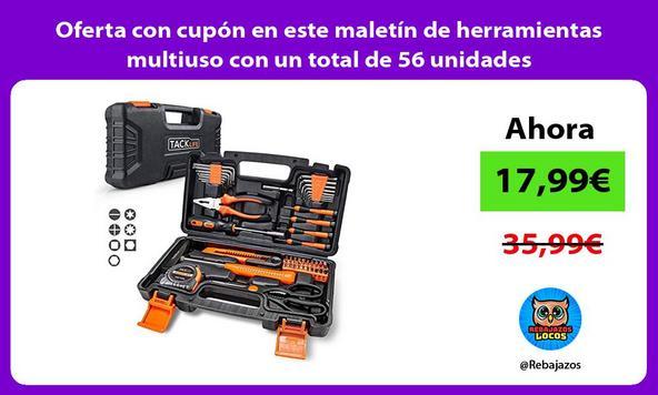 Oferta con cupón en este maletín de herramientas multiuso con un total de 56 unidades