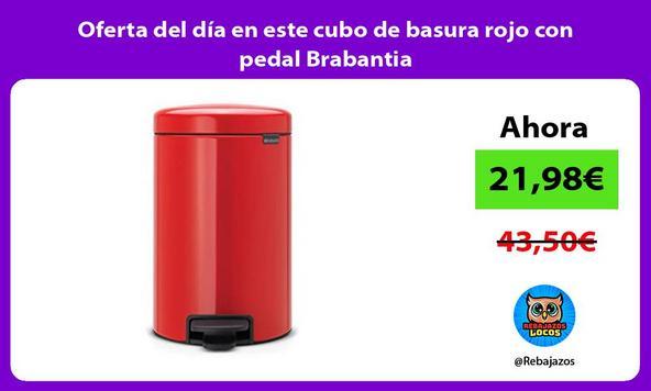 Oferta del día en este cubo de basura rojo con pedal Brabantia
