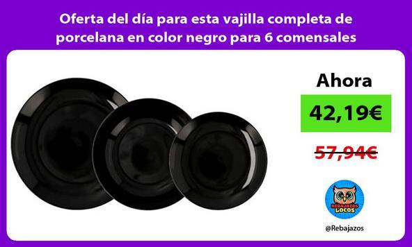 Oferta del día para esta vajilla completa de porcelana en color negro para 6 comensales