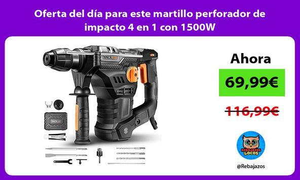Oferta del día para este martillo perforador de impacto 4 en 1 con 1500W