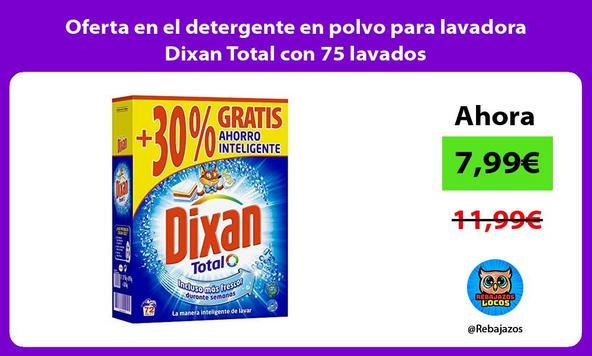Oferta en el detergente en polvo para lavadora Dixan Total con 75 lavados