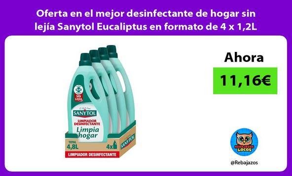 Oferta en el mejor desinfectante de hogar sin lejía Sanytol Eucaliptus en formato de 4 x 1,2L