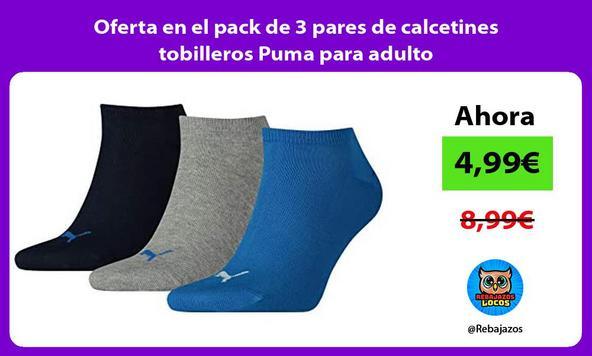 Oferta en el pack de 3 pares de calcetines tobilleros Puma para adulto