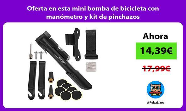 Oferta en esta mini bomba de bicicleta con manómetro y kit de pinchazos