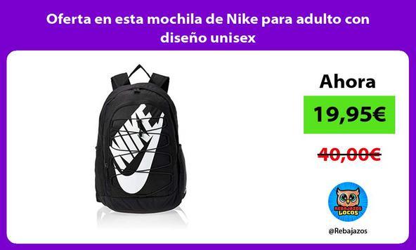 Oferta en esta mochila de Nike para adulto con diseño unisex