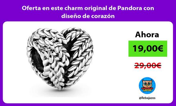 Oferta en este charm original de Pandora con diseño de corazón