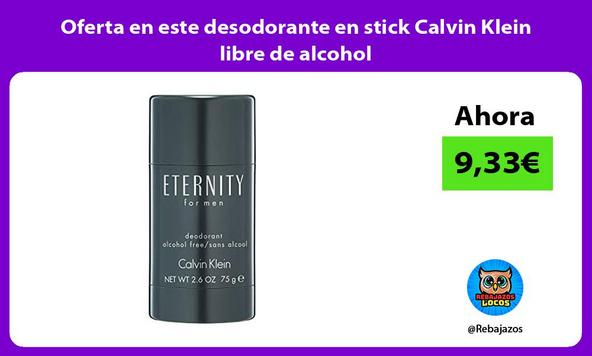 Oferta en este desodorante en stick Calvin Klein libre de alcohol