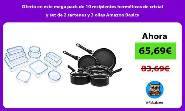 Oferta en este mega pack de 10 recipientes herméticos de cristal y set de 2 sartenes y 3 ollas Amazon Basics