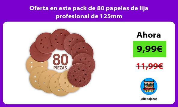 Oferta en este pack de 80 papeles de lija profesional de 125mm