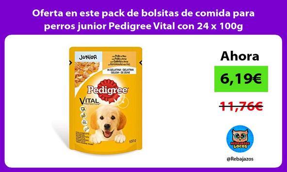 Oferta en este pack de bolsitas de comida para perros junior Pedigree Vital con 24 x 100g