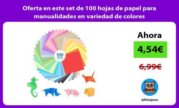Oferta en este set de 100 hojas de papel para manualidades en variedad de colores
