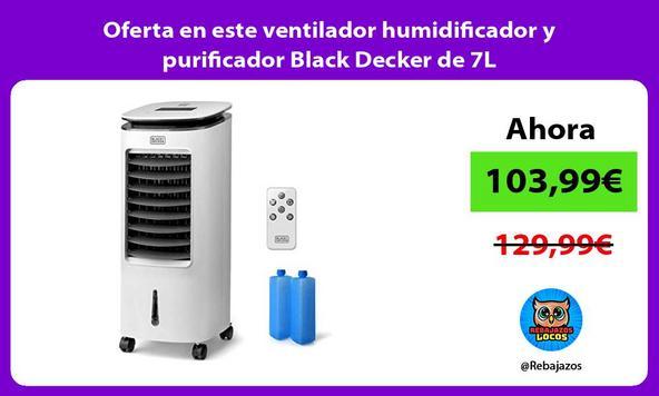 Oferta en este ventilador humidificador y purificador Black Decker de 7L