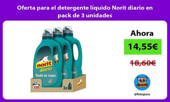 Oferta para el detergente líquido Norit diario en pack de 3 unidades